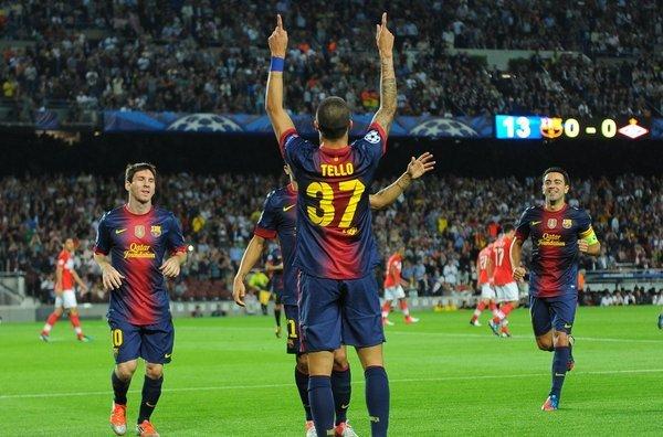 Tello celebra el primer gol del equipo